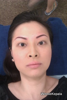 After eyebrow embroidery