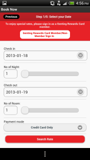 RWG App - iHoliday Booking - Select dates