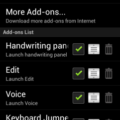 Keyboard menu allows customisation of language, handwriting recognition, voice to text function and more.