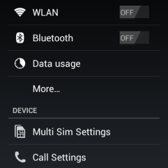 Setting menu includes settings to manage both SIMs