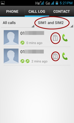 Phone Call Logs shows you all calls incoming and outgoing for both SIMs, with a drop down menu to filter calls on a specific SIM or both SIMs