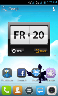 Homescreen of clock widget and app shortcuts, with docked app shortcuts