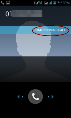 Incoming call shows which SIM the call is coming in from