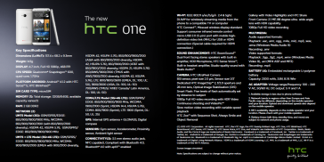 HTC One (pg8) - Tech specs