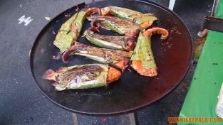 Wrapped grilled fish