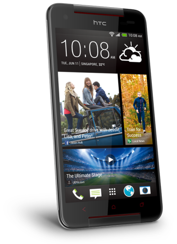 HTC Butterfly S - Glamour White (angled)