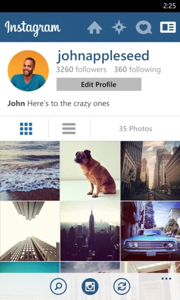 Instagram for WIndows Phone - Profile