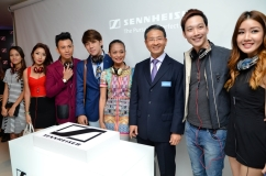 (From left to right): Reem Shahwa, Michelle Lee, IZ, Joseph Germani, Atilia Haron, Mr. Ng Chee Soon (President and Managing Director of Sennheiser Asia), Jeremy Teo, and Megan Tan